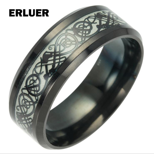 ERLUER Black Gold Color Celti Dragon Rings Men Women stainless steel