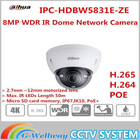 Original Dahua English version 8MP WDR IR Dome Network Camera IPC-HDBW5831E-ZE Support Upgrade IR 50M free shipping free shipping in stock new arrival english version ds 2cd2142fwd iws 4mp wdr fixed dome with wifi network camera