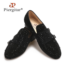 2017 New Suede men loafers with black rhinestone and hasp wedding and party men casual shoes somking slippers big size men flats