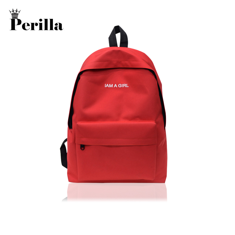 7a9863ebbfca Perilla Brand Women Backpack Man Letter Boy Solid Color Backpack Woman  School Bag College Wind Small