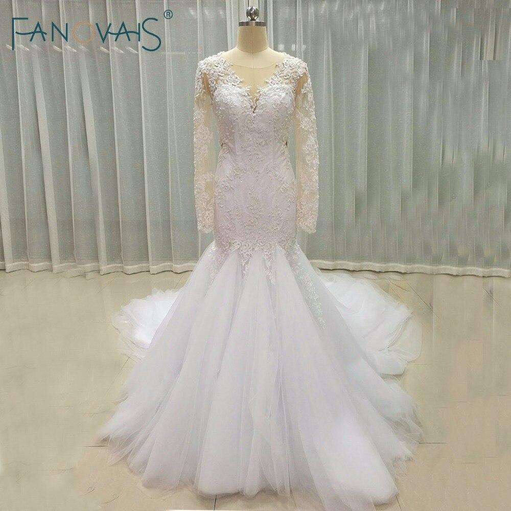 Elegante Do Laço Da Sereia Vestidos de Casamento Com Mangas Compridas Longo Train Vestido de Novia Robe de Mariage Vestidos de Casamento Do Vintage