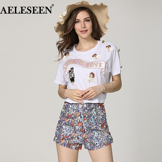 Aeleseen Fashion Women Twinsets 2018 Elegant Angel Embroidery Short Sleeve Appliques Top Sexy Beading Floral