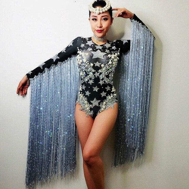 Female Long Tassel Sexy Bodysuit Glitter Rhinestones Pearl Jumpsuit For Women Singer Dancer Nightclub Stage Party Costumes DJ DS