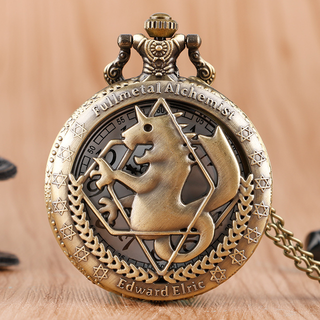 Cool Hollow Bronze Fullmetal Alchemist Copper Quartz Pocket Watch with Necklace