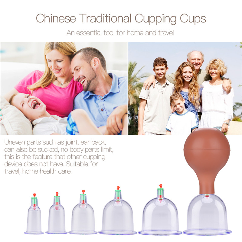 6cups/set Suction Pump Chinese Health Care Medical Vacuum Cupping Therapy Cups Massage Family Full Body Anti-cellulite Massager