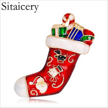 Sitaicery Creative Cartoon Christmas Brooches Pins Cute Red Socks Enamel Pin Badges Brooch Merry Lapel pin Accessories