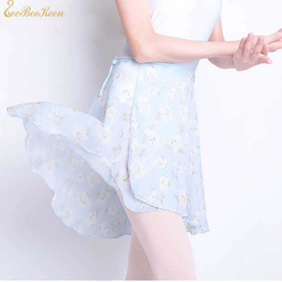 Ballet Dance Skirt For Adult Chiffon Floral Skirt Ballerina Summer Yoga/Sport Practice Leotard For Women Teachers Wrap skirt