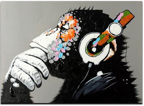 Home & Garden Monkey Listen Music Art Wall Decor Silk Print Poster