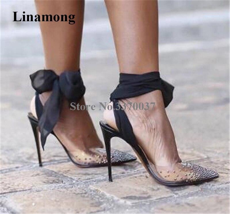 Zapatos de tacón de aguja con diamantes de imitación, de PVC, puntiagudos, de diseño de marca para mujer, con tiras cruzadas de encaje en negro, rojo, blanco y cristal, tacones altos Zapatos de fiesta rojos, negros, amarillos, para mujer, Gladiador Stiletto sandalias de, tacones altos sexis con cordones cruzados, sandalias de verano para mujer