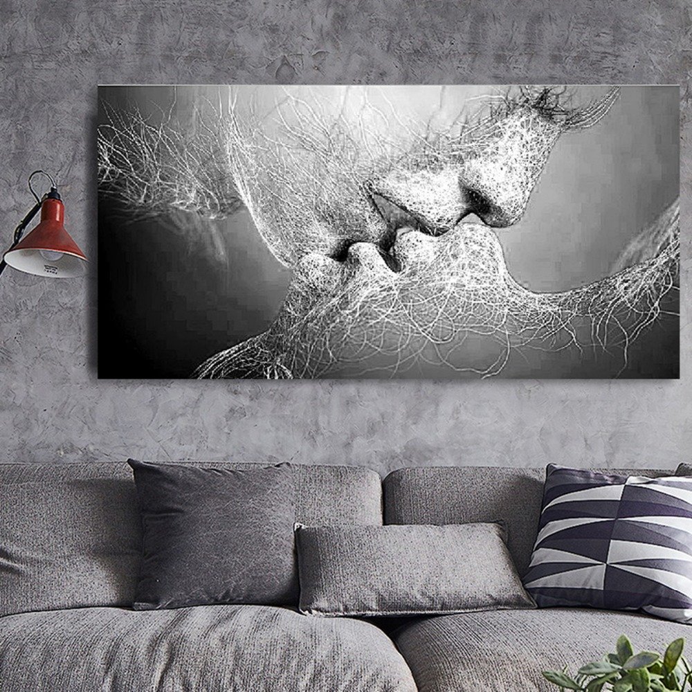 Love,Kiss,Canvas Painting,Wall Art,wall decor,Living Room Decoration,