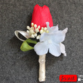 1set(2 pcs) High Quality Artificial Red Tulip Bulbs Flower Groom Boutonniere Wedding Corsage FW183