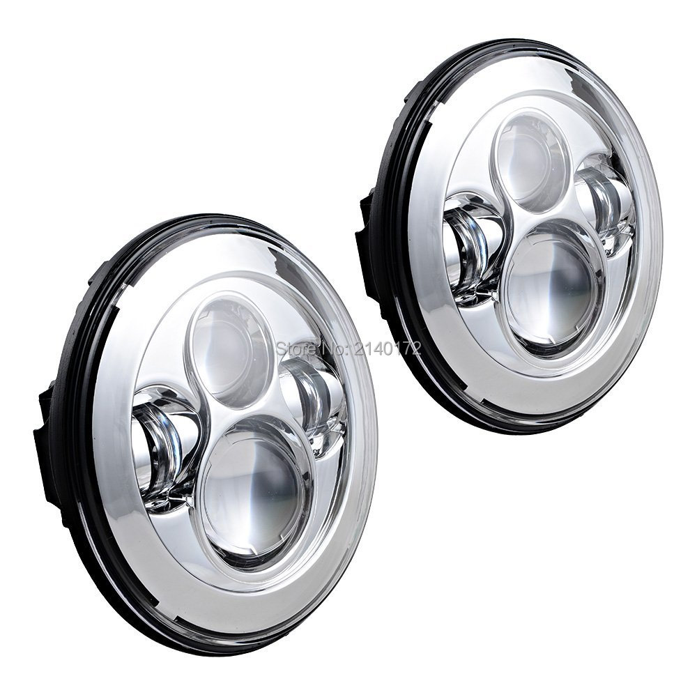 7 Silver led headlight for 07-15 Wrangler JK 2 Door, High and Low Beam Auto head light for Land Rover Offroad