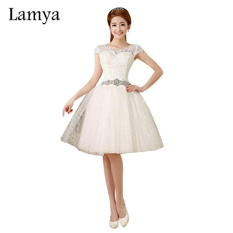 Lamya Customized Cheap Lace Short Wedding Dress Romantic 2016 Fashionable Bridal Gown Crystal Sashes Vestido de noiva