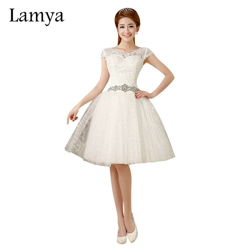 Lamya Lace Short Crystal Wedding Dresses Romantic 2019 Fashionable Bridal Gown Sashes Vestido De Noiva