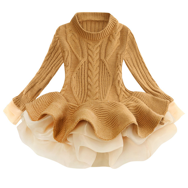 Kids Clothes Baby Dresses Winter Cute Knit Long Sleeved Girl Sweater Dress Toddler Girls Birthday Party