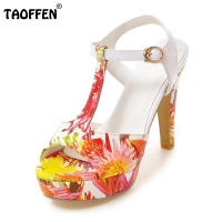 TAOFFEN Women Sandals Women Shoes High Heeled Sandals Thin Heels Platform Ankle Strap Fashion Casual Footwear