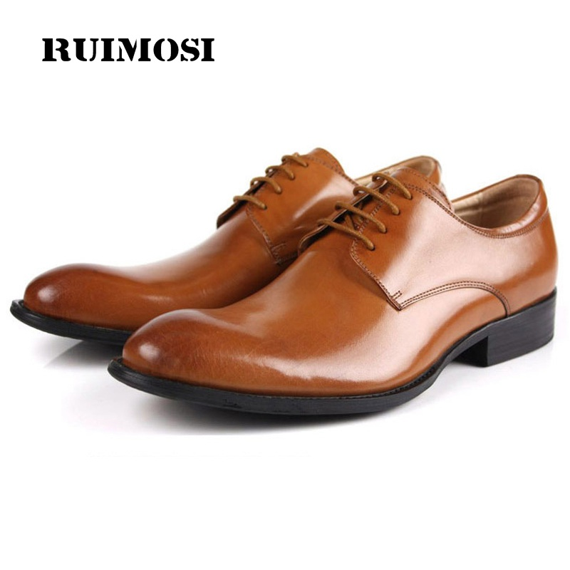 RUIMOSI Derby Formal Man Bridal Dress Shoes Genuine Leather Designer Oxfords Luxury Brand Men's Wedding Footwear For Male EC54