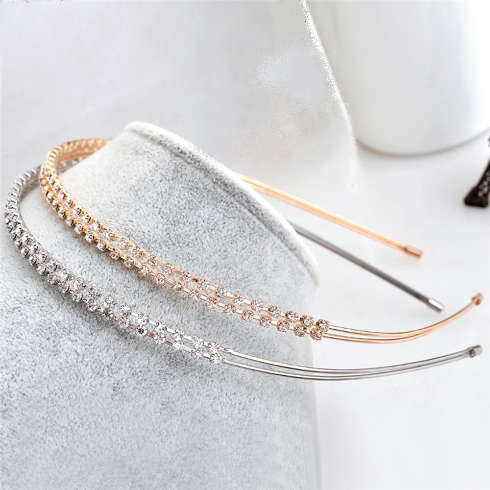 Fashion Women Crystal Headband Shiny Metal Flower Bow Hairband Girl Hair Band Jewelry Female Rhinestone Pearl Headwear Hair Hoop