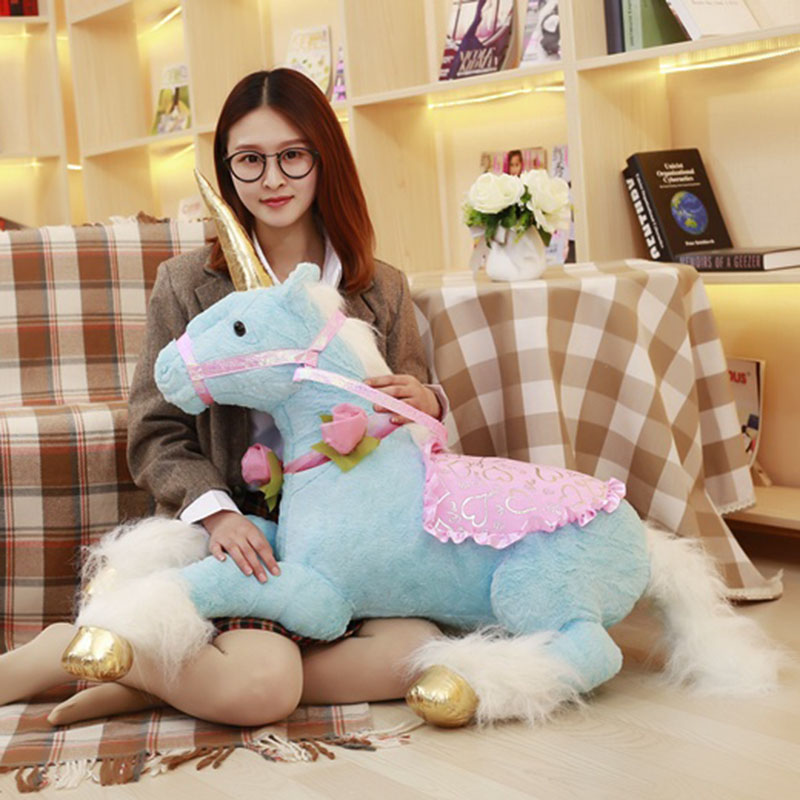 Peluche licorne 90 cm cheval doux poupée mignon énorme Animal en peluche peluche enfants jouets anniversaire cadeau de noël pour fille