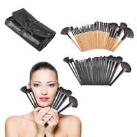 32 pcs Madeira Professional Cosméticos Facial Make Up Brush Kit Makeup Brushes Set Escova Com Roll Up Caso saco Preto