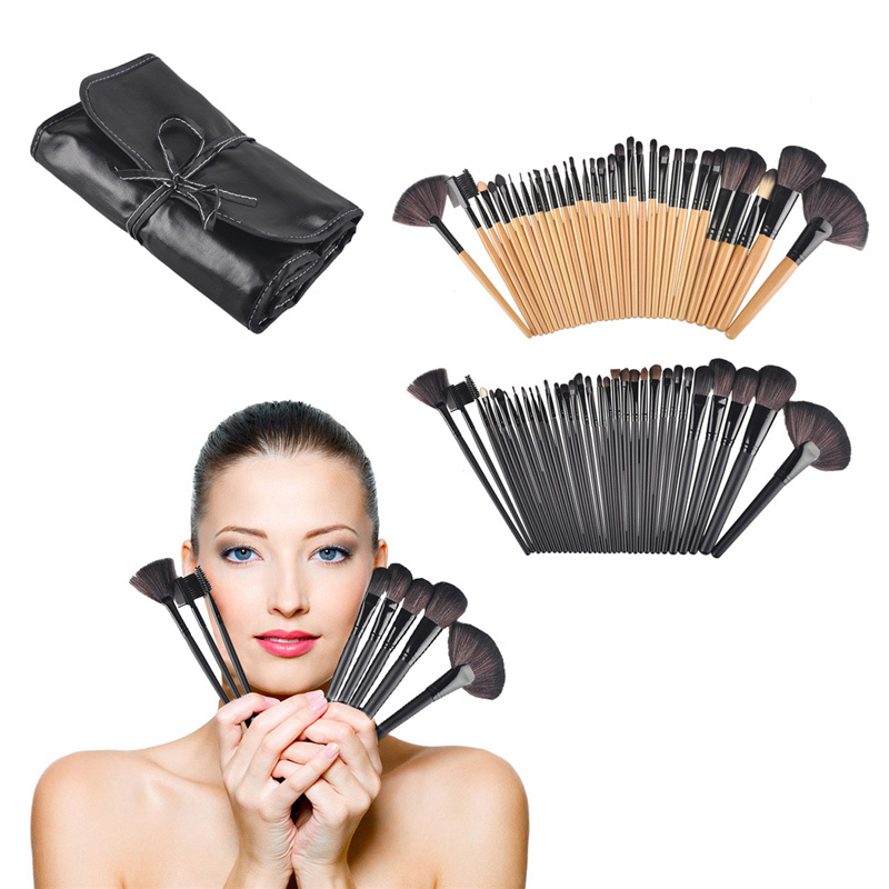 32pcs Professional Wood Cosmetic Facial Make Up Brush Kit Makeup Brushes Set Brush With Black Roll Up Case bag hot sale 2016 soft beauty woolen 24 pcs cosmetic kit makeup brush set tools make up make up brush with case drop shipping 31