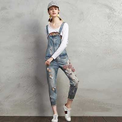 classic chic Discover classic shoes Jeans Jumpsuit Women Ripped Denim Pattern Romper Ladies Denim Loose Jean  Overalls Fashion Casual Sleeveless Jumpsuit Rompers