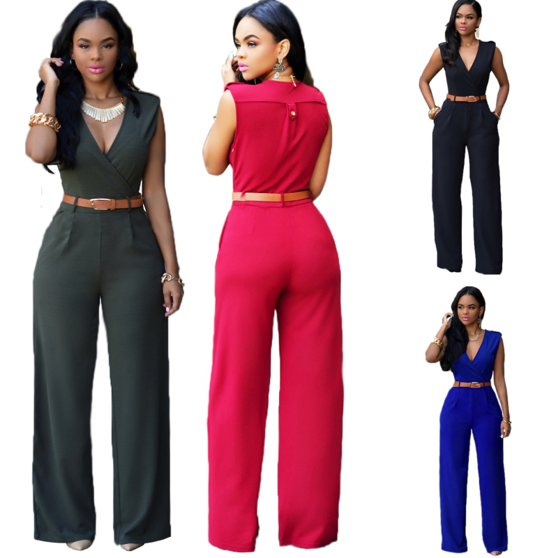 Sexy Rompers Womens Jumpsuit 2018 Summer Rompers for Women Plus Size Overalls for Women Elegant Sleeveless with Leather Belt Hot