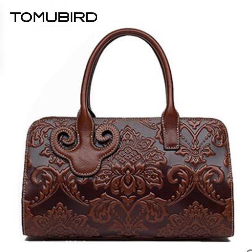 TOMUBIRD new superior cowhide leather Designer embossed Boston bag famous brand women bag fashionTote women genuine leather bag tomubird new superior cowhide leather designer rose embossed famous brand women bag fashion tote women genuine leather bag