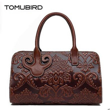 TOMUBIRD new superior cowhide leather Designer embossed Boston bag famous brand women bag fashionTote women genuine leather bag
