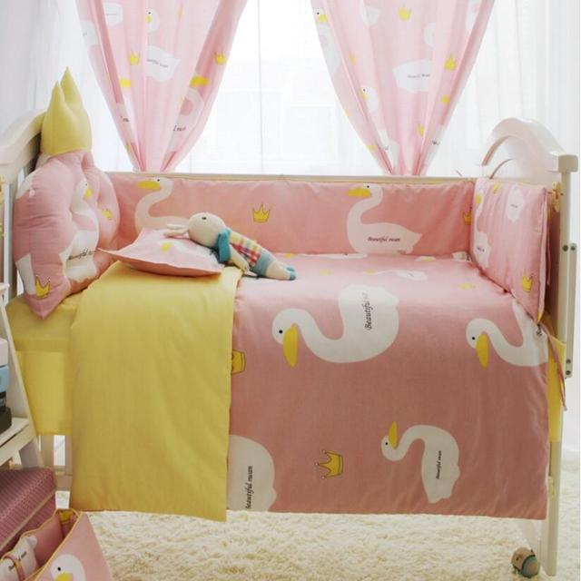 Cartoon Big White Goose Print Baby Bed Set,Princess Girl Pink Baby Cot Bumper,Newborn Baby Crib Bedding Set,Baby Quilt Comforter