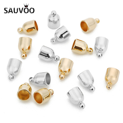 SAUVOO 100pcs/lot CCB End Caps Clasps Fit 5 6mm Leather Cord Crimp Beads End Caps High Quality For Diy Necklace Jewelry Making