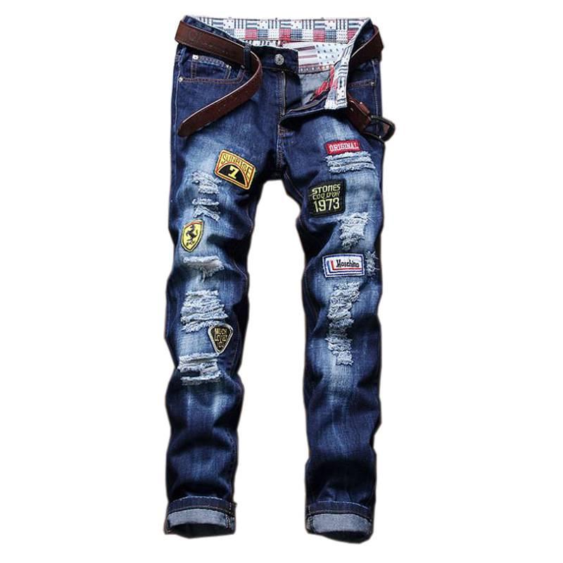 #1512 2017 Slim fit jeans men Fashion Badge Ripped jeans for men Straight Famous brand jeans Punk Hip hop Mens jogger jeans