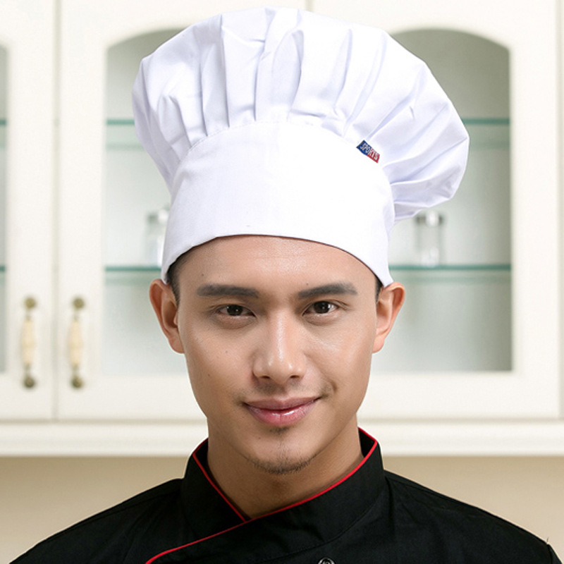 10pc Cooking Adjustable Chef Hat Men Kitchen Baker Elastic Hat Catering Cooking Cap Striped Plain Hats Working Cap Hat