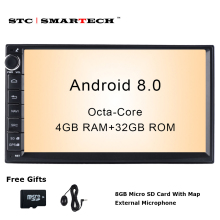 SMARTECH 2 Din Android 8.0 Car Radio GPS Navigation Autoradio System Octa Core 4GB RAM 32GB ROM Support AV Out WIFI DAB OBD DVR