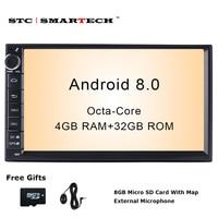SMARTECH 2 Din Android 8.0 Car Radio GPS Navigation Autoradio System Octa Core 4GB RAM 32GB ROM Support AV Out WIFI DAB OBD DVR