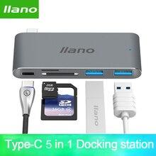 Laptop USB Thunderbolt 3 5 em 1 C adaptador para MacBook Pro 13/15 polegada 4 K HDMI USB C USB 3.0 SD/TF Adaptador Leitor PD