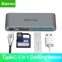 Laptop USB Thunderbolt 3 5 in 1 C adapter do Macbooka Pro 13/15 cal 4 K HDMI USB C USB 3.0 SD/TF czytnik Adapter PD