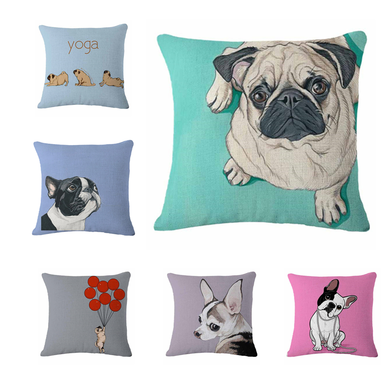 decorative cushions bulldog one side printed pug dog pillow almofadas home decor no