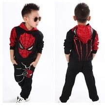 Весенне-осенний спортивный костюм с человеком-пауком для маленьких мальчиков, комплект из 2 предметов