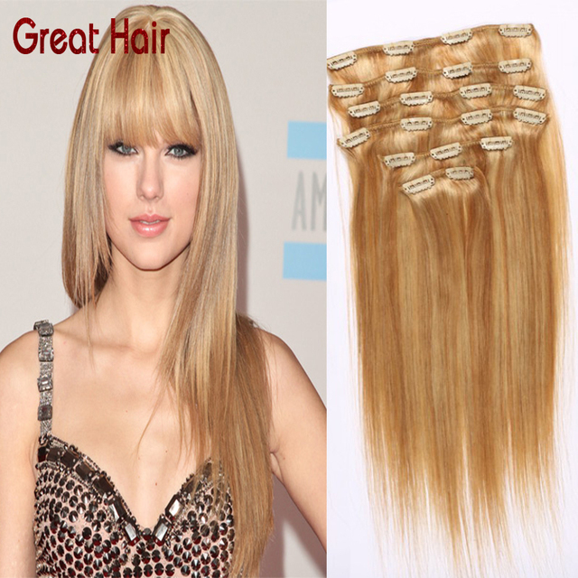 7pcsset Clip In Remy Human Real Hair Extensions Peruvian Virgin