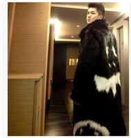 2018 New Men Winter Faux Fur Jacket Black Gown White Devil Style Long Windbreaker Fake Fox