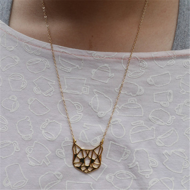 Origami Cat Face Shaped Pendant Necklace