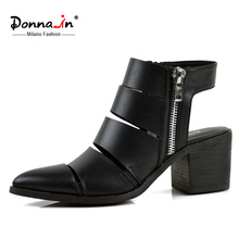 Donna-in 2016 summer new styles cut-outs cow leather sandal boots pointed big heel ladies shoes