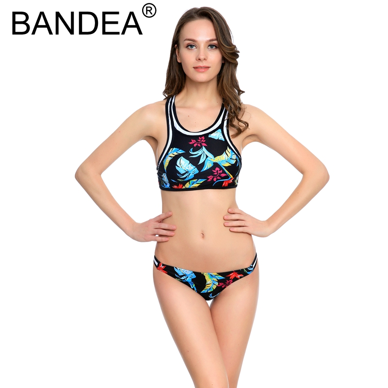 BANDEA 2017 Bathing Suit For Women Sexy Thong High Neck Floral Printed Women Swimwear Sports Retro Push up Bikini Swimsuit смеситель для раковины lemark omega с гигиеническим душем lm3116c