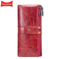 Soft Red Genuine Leather Women Long Wallets Retro style Two Fold clutch Purse Lady Gift Handy Card Holder for Girl Money Bag