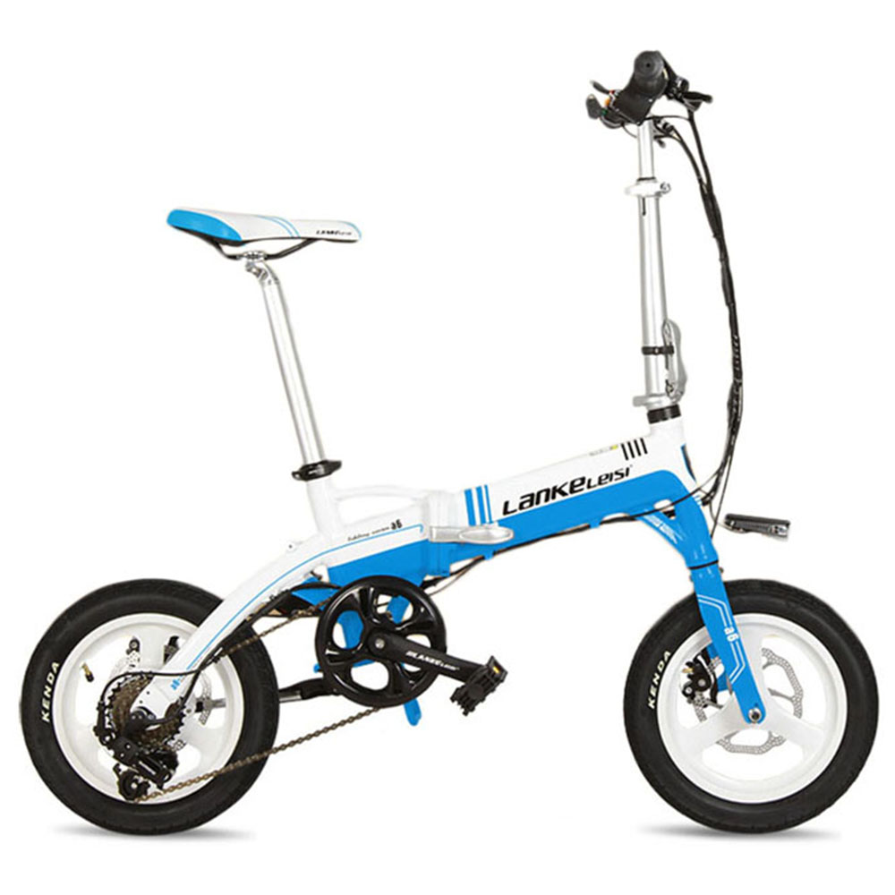 Lankeleisi A6 Folding Electric Bicycle 7 Speeds 14 inch 240Watt 36V Disc Brakes(white blue)