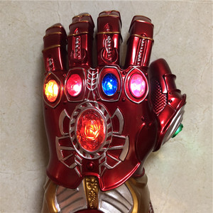 Image 4 - 1:1 War Gauntlet Iron Man Red Ver. Action Figure LED Light Cosplay Thanos Gloves Prop Kid Gift