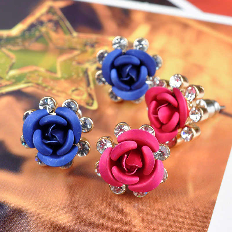 Flower Stud Earrings Gold Rose Crystal Earring For Women Cubic Zirconia Rhinestone Fashion Female Jewelry Accessories Pendientes