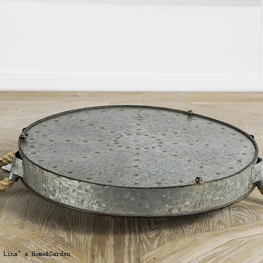 Metal Galvanized Tray With Hemp Rope
