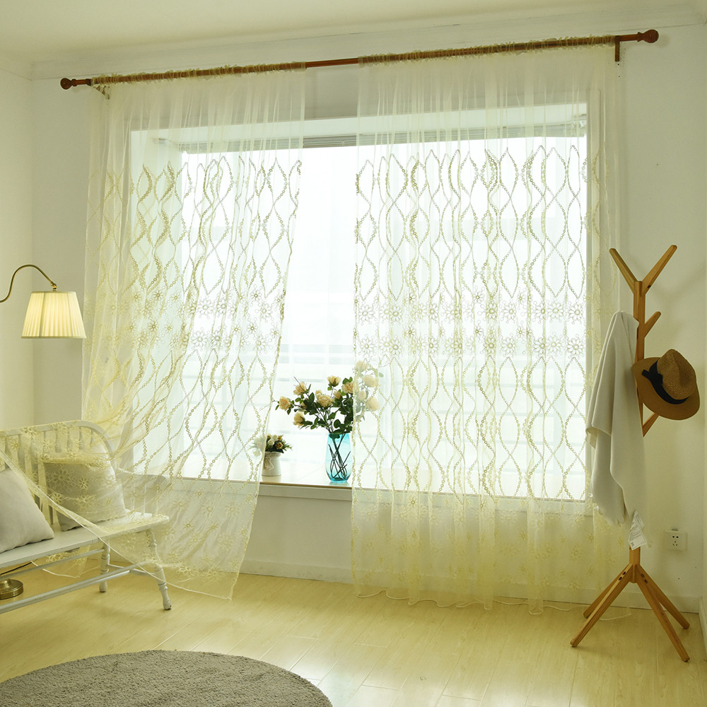 Traditional Curtains Us 5 81 28 Off Embroidery Curtain Elegant Leaves Translucent Polyester Window Curtains For Bedroom Living Room Chinese Traditional Style 1pcs In